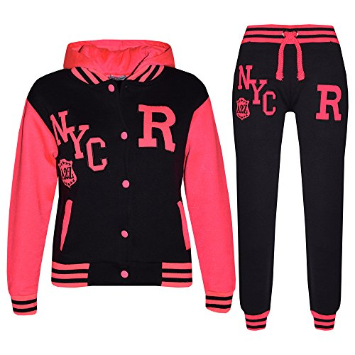 Mädchen Jungen Baseball Trainingsanzug NYC FOX Jacke & Hose - T.S Baseball NYC Black & Neon Pink 7-8 ()