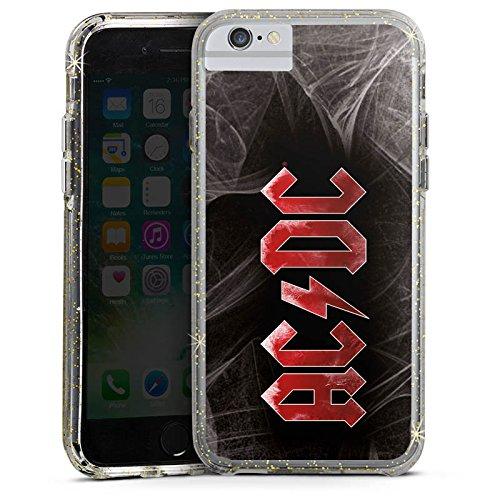 Apple iPhone 6 Bumper Hülle Bumper Case Glitzer Hülle Acdc Logo Merchandise Bumper Case Glitzer gold