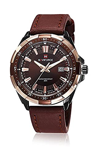 Gokelly NaviForce Mens Sport Leisure Leather Waterproof Big Dial Quartz