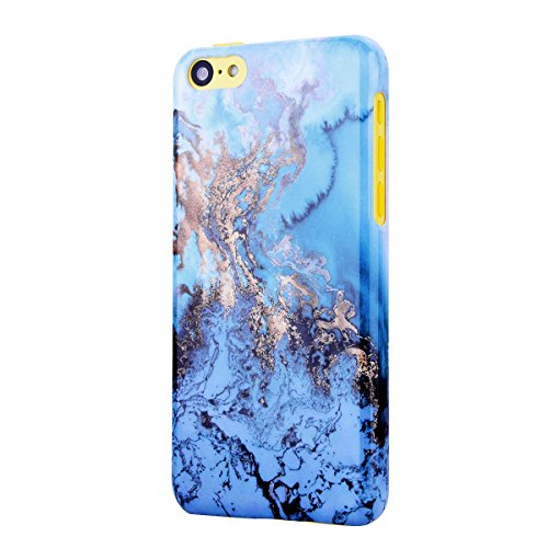 Coque iPhone SE, Etui iPhone 5S, Housse iPhone 5 Marbre GrandEver Housse Hard Rigide Back Cover pour Apple iPhone SE 5S 5 Marble Blanche Grain Noir Motif Etui de Protection Plastique Case Cas Couvertu Bleu