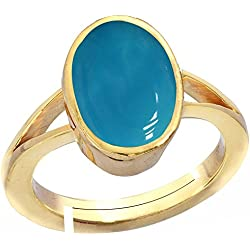 Gemorio Turquoise Firoza 8.3cts or 9.25ratti stone Panchdhatu Adjustable Ring For Men