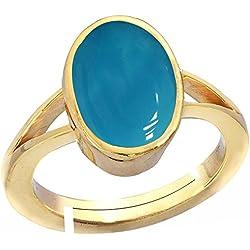 Gemorio Turquoise Firoza 8.3cts or 9.25ratti stone Panchdhatu Adjustable Ring For Men