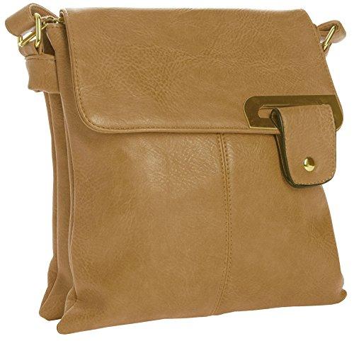Big Handbag Shop - Borsa a tracolla donna Yellowish Tan - Gold Trim