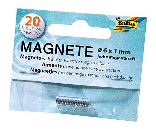 folia 2520 - Mini Magnete mit hoher Magnetkraft, 20 Stück, ca. 6 x 1 mm -