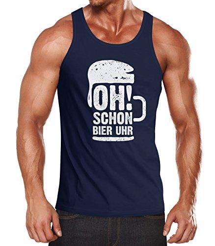 MoonWorks Herren Tanktop Oh Schon Bier Uhr Muskelshirt Navy XL - Männer Bier Für Tank-tops