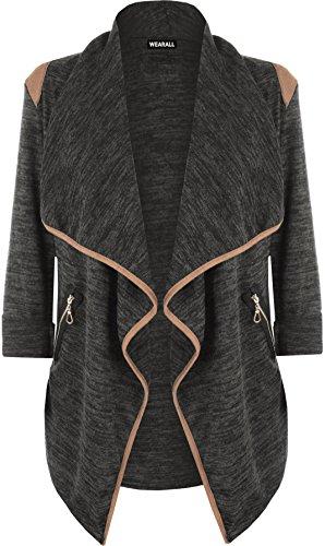 WearAll - Damen Gestrickt Geöffnet Reißverschluss Tasche Lang Hülle Schulter Top Strickjacke - Schwarz - 40-42 (Länge Reißverschluss-schwarz)