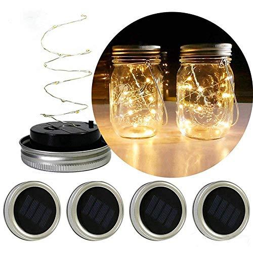 MMOOVV LED-Lichterkette für die Mason-Glasabdeckung in der verfärbten Gartendekoration (2 Meter)