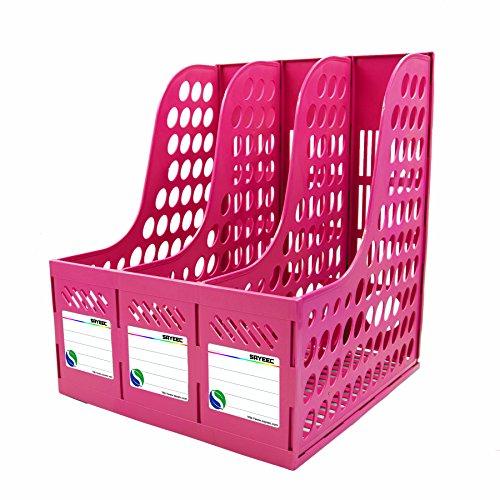 Dreifach-Magazin-Halter aus Kunststoff von Sayeec - Robust, Dokumentenhalter für Schrank und Regal, Organizer zum Präsentieren und Aufbewahren. Pink-Triplicate