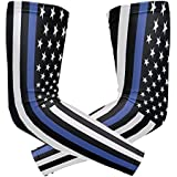 Wamika Arm Sleeve For Men Women American Police Flag Uv Protection Cooling Long Sports Compression Arms Cover Tattoo Sleeves Perfect For Baseball Football Basketball Running - 1 Pair