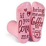 Rosa Flaumig Wenn du Mich Liebst, Bring Mich Socken (Wein, Schokolade, Kaffee) Geschenk für Frauen (Kaffee)