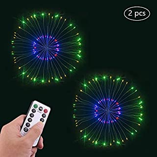 AOOPOO Fireworks Led Light Starburst Lights String 120 Led Fairy Light String Battery Operated Decorative Copper Wire String Lights For Room Garden Wedding Party Christmas Decoration 2PCS (multicolor)