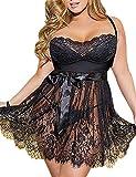 ohyeahlady Damen Kleider Babydoll Lingerie Mesh Spitzen Nachtwäsche Dessous Set Sleepwear Dress Reizwäsche Negligee mit G-String Große Größen