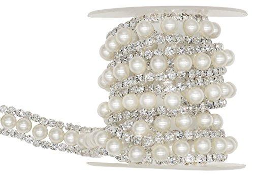 """2-reihige Verzierung """"Shinytime"""", 0,9 m, Silber mit Strass und weißen Perlen, Zierstreifen/Bordüre für Kleidung und Braut-Bouquet  Pearl-1..."""