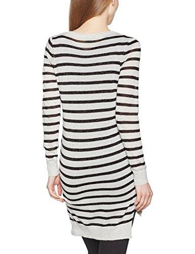 VERO MODA Damen Pullover Vmaltha Ls V-neck Slit Blouse Boo Mehrfarbig (Light Grey Melange Stripes:Dk. Grey Mel)