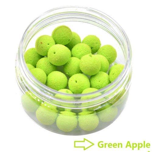 30pcs 12mm Carp Boilies Bait 4 Geruch Floating Karpfen Köder für Hair Rig (Grün-Apfel)