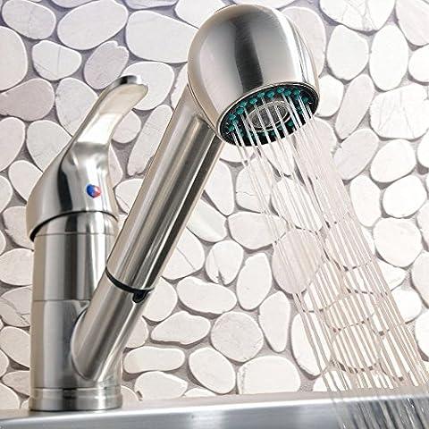 InChant Moderne mitigeur en acier inoxydable pont monté brossé Nickel Pull Out robinet de cuisine, Pull contemporain bas Vaporiser Bar robinet d'évier simple trou
