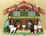 magicaldeco Original Schwarzwald- Miniatur Wetterhaus 10 cm - Heidi, Peter, Ziege- Germany Black Forest- Weather Houses