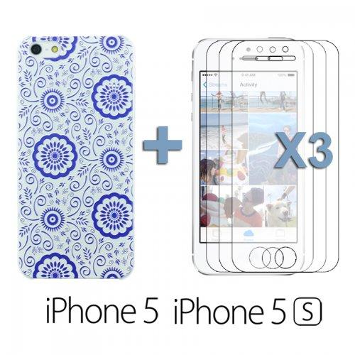 OnlineBestDigital - Carving Design Patterns Plastic Case / Housse pour Apple iPhone 5S / Apple iPhone 5 - Style N avec 3 Film de Protection et Stylet Style N