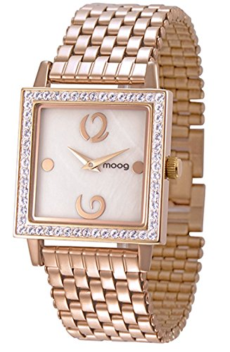 Moog Paris Twisted Women's Watch with White Mother of Pearl Dial, Rose Gold Stainless Steel Strap & Swarovski Elements - M45604-007