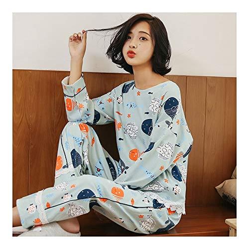 Haoliequan primavera autunno donna 100% cotone pigiama donna ragazza pigiama set pigiama pigiameria del fumetto per le donne a maniche lunghe tuta, m