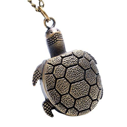 HANXIAO Taschenuhren Bronze Vintage Lovely Turtle Mini kleine Quarz Taschenuhr Lady Girl Halskette Anhänger Kette Geburtstag Geschenke-Hellrosa -