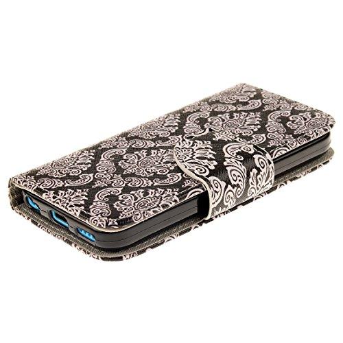 iPhone 5C Handyhülle,iPhone 5C Case - Felfy Slim Full Body Wolf Muster PU Case Cover Etui Schutz Hülle Tasche für Apple iPhone 5C + 1x Bling Eule Anti Stöpsel + 1x Schwarz Stylus Blume Totem CASE