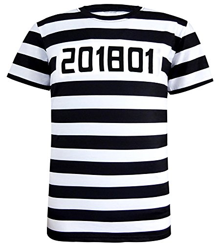COSAVOROCK Men's Prisoner Costume Striped T-Shirts (XXL) (Gefängnis Halloween Mann)
