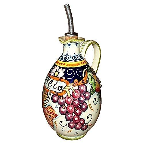 ceramiche-darte-parrini-italienne-artistique-poterie-huilier-decoration-raisin-peint-a-la-main-fabri
