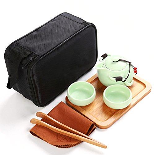 BESTONZON Tragbare Reise Tee-Set handgemachte chinesische/japanische Vintage Gongfu Tee-Set-Porzellan Teekanne Teetassen mit einer tragbaren Reisetasche(grün, 2 Tassen) (Chinesische Gongfu Tee-set)