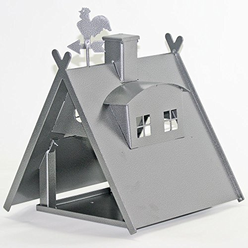 Vogelhaus XXL mit Ständer aus Metall (Farbe: silber-antik) - 2