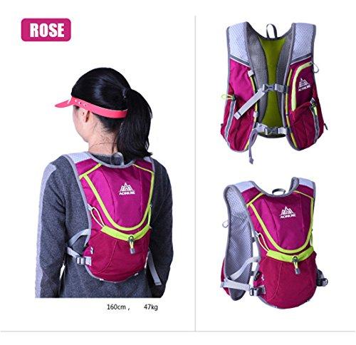 AONIJIE Leichter Männer Frauen Marathon Radfahren Laufen Rucksack mit Trinkblase Rose Rot+2* Faltbarer Waterbottles(350ml)