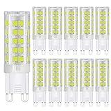 10er Pack 5W G9 LED Lampe 450 Lumen, 6000K Kaltweiss G9 LED Leuchtmittel Ersatz 50W G9 Halogenlampe, 360° Abstrahlwinkel, AC 220-240V, Nicht Dimmbar