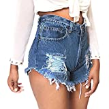 Kurze Hosen Damen FORH Sommer Damen Denim Shorts Mode Destroyed Ripped High Waist Hot Pants Lochjeans Vintage Baggy Basic Kurz Jeans Hose Kurzschlüsse mit Taschen (Blau A, S)