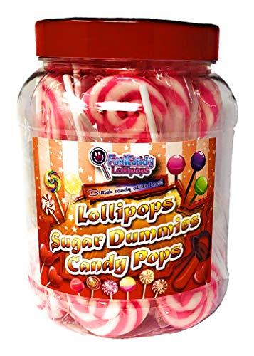 fruchtiger Swirl-Lollipops mit rosa und weißen 25er-Packungen ()