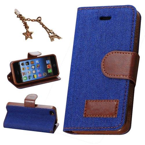 Uming Bloom Cas de couverture de peau Bloom Case Rose pour IPhone6 IPhone6S Iphone 6 Iphone 6S 5.5inch Jean étui en cuir d'impression de couleur de coup de matériau en tissu tissu de Splice fleur PU a Mid-Blue Jean