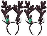 Weihnachten Stirnband, Fascigirl 2 Pack Cute Plüsch Rentier Antler Haar Band Haarschmuck mit Jingle Bells für Erwachsene Kinder (Kaffee)