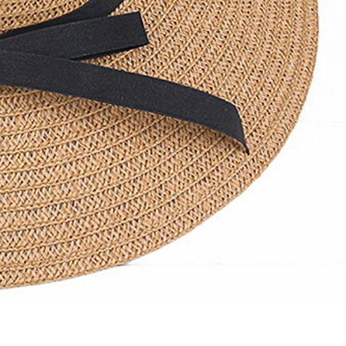 Latinaric Chapeau De Paille Plage Voyage Chapeau Anti-UV Avec Noeud Marron