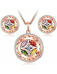Jewels Galaxy Crystal Elements Limited Edition 18K Rose Gold Plated Lustrous Multicolor Pendant Set For Women/...