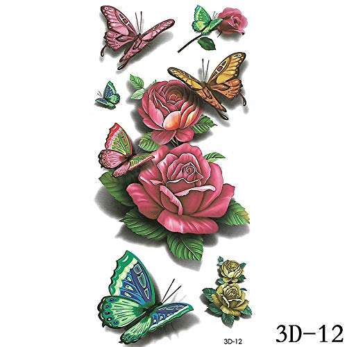 adgkitb Schmetterling Blume Tier Tattoo Aufkleber 3D-012 9x19cm