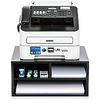 FITUEYES Support avec Multi-Rangement pour Imprimante avec 2 Etagères en Bois Noir DO204701WB
