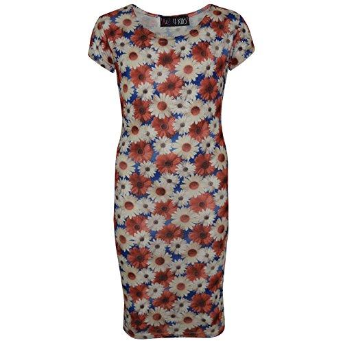 A2Z 4 Kinder Gilrs Kleid Kinder Daisy Blumen Aufdruck Bodycon Stilvoll Midi Kleid - White - 7-8 (Gilr Blume Kleider)