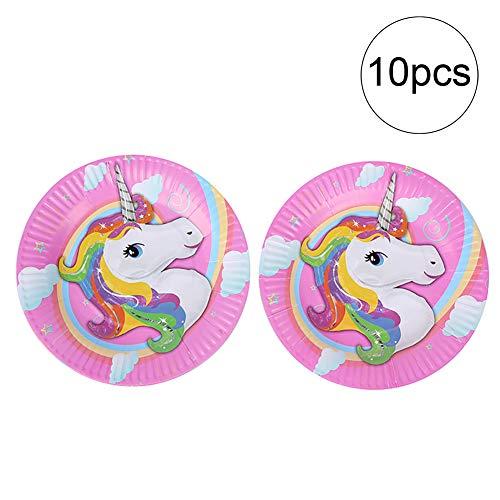 Hilai 10 Stück magische Unicorn Papier Platte Party liefert perfekt für Kinder Unicorn Geburtstagsfeier 7 Zoll Kuchenplatte