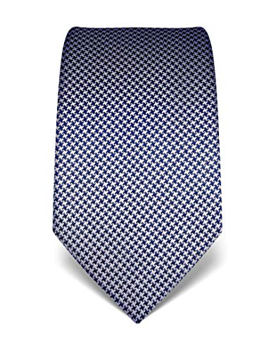 ren Krawatte reine Seide Hahnentritt Muster edel Männer-Design zum Hemd mit Anzug für Business Hochzeit 8 cm schmal/breit dunkelblau ()