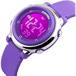 ETOWS® Digital Kids Watch Band with Hourly Chime, Stopwatch, Daily Alarm & Calendar (Purple)