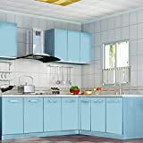 KINLO Selbstklebend Küchenschrank-Aufkleber PVC Tapeten Rollen für Möbel Küche Schrank 61cm x 5m Aufkleber Folie Möbel Schrank Tür Papier für Wandplakate - Hellblau