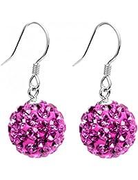 Boucles d'oreilles pendantes avec boule en cristal 10 MM - bling bling cristaux CZ
