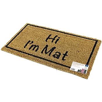 JVL Novelty PVC Backed Coir Hi I'm Mat Entrance Door Mat, Vinyl, Brown, 33 x 60 cm