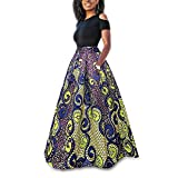 CZ Damen Vintage afrikanischen Blumendruck eine Linie langen Rock Taschen zwei Stücke Maxi Party Urlaub Kleid (gelb, L)