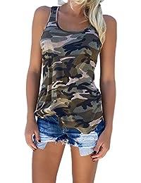 FUNOC Camiseta de Tirantes Camuflaje Casual sin Manga del Verano para Mujer