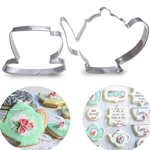 bismarckbeer Teekanne Tee Tasse Ausstechformen Kuchen Biscuit Fondant Backform, Set von 2 -